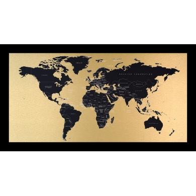 Incado metal verdenskort, Messing-Sort