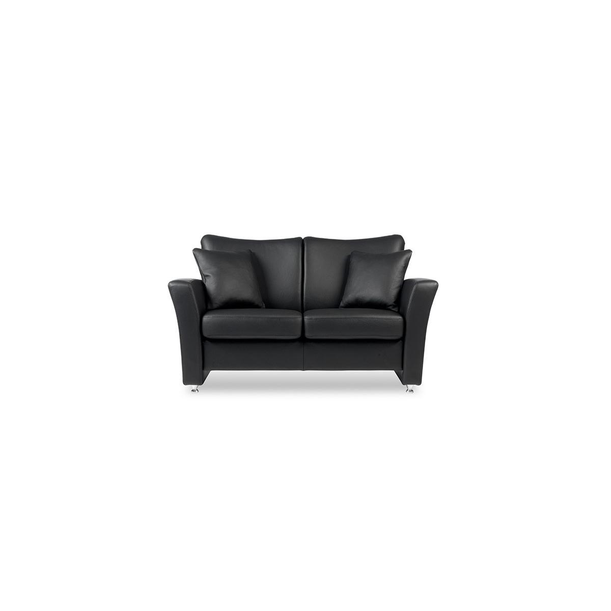 Brunstad System Pluss sofa i læder 3 personers Classic læder i sort Nero og olieret eg