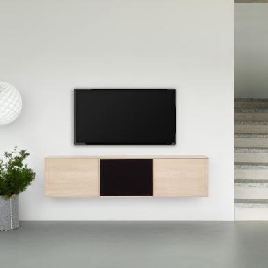 FK Natura | 3-fags TV-møbel i eg/sæbe med eg/stoflåge