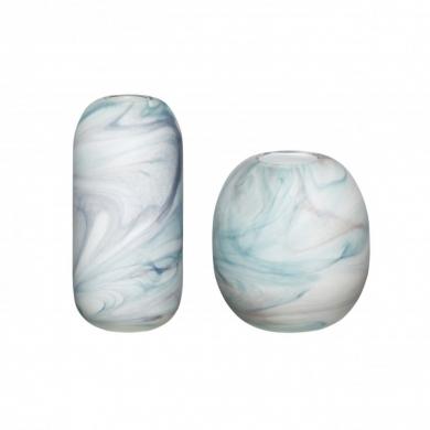 Hübsch | Vase sæt - marmor art hvid/blå - Bolighuset Werenberg